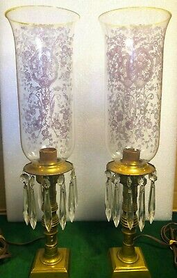 (2) Antique Brass Cut Crystal Prism & Lavender Etched Glass Tall Shaded Lamps