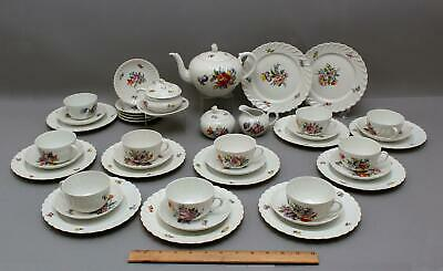 41pc Antique Early 20thC German Nymphenburg Dresden Flowers Dessert Teaset
