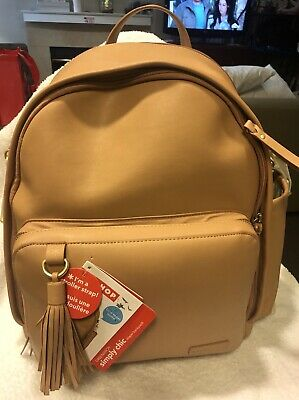Skip Hop Greenwich Simply Chic Baby Diaper Bag Backpack w/ Changing Pad Caramel