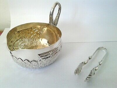 Silver Sugar Bowl with Tongs