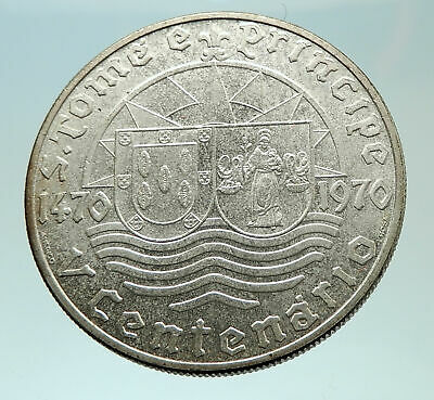 1970 SAO TOME AND PRINCIPE Shields Waves Discovery Genuine Silver Coin i75891