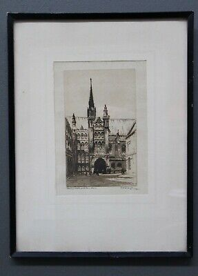 Original 1925 Etching Gothic architecture vintage frame signed MAYBERY London