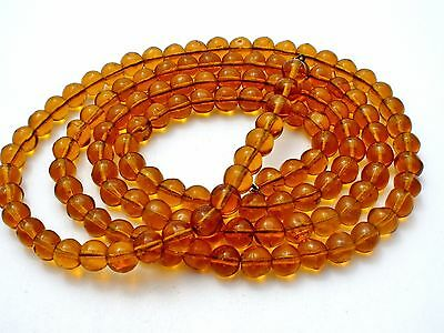 """Art Deco Flapper Necklace Amber Glass Beads 42"""" Long Beaded Vintage Jewelry"""