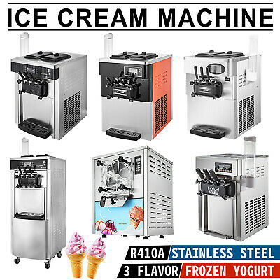 Soft & Hard Mix Flavors Ice Cream Machine Ice Cones Maker 3 Flavor 20-28L/H