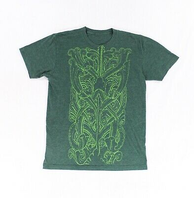 Designer NEW Green Mens Size Small S Damask Front Graphic Tee T-Shirt $22- #192