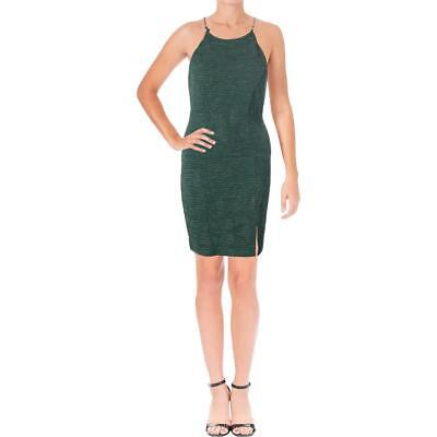 Speechless Womens Green Metallic Halter Party Bodycon Dress Juniors 5 BHFO  2649 17a9d2516