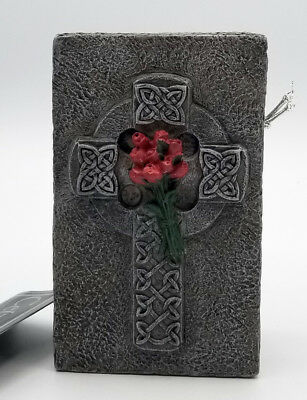 Gothic Celtic Cross Box Retired 1997 by Vandor Casket red roses