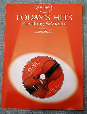 TODAY'S Hits: Play-Along for VIOLIN. Sheet Music Book. Backing tracks on CD