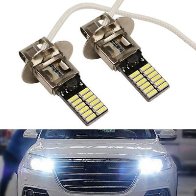 2Pcs H3 6500K 24-SMD 4014 Bright Head Bulb Car Fog Light DRL Lamp LED White