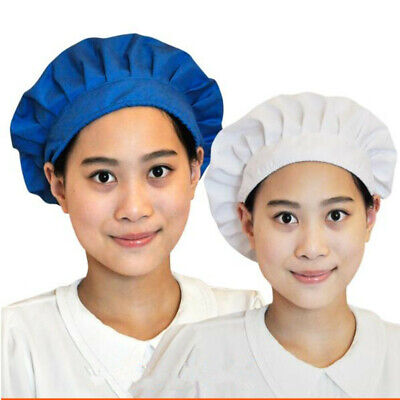 1PCS Men and Women White Blue Dustproof Adjustable Work Kitchen Dining Chef Cap