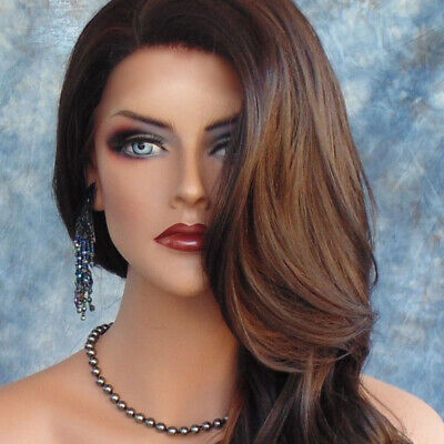 Lady Human Hair Brown Long Curly Wavy Full Hair Extension Blonde wigs women