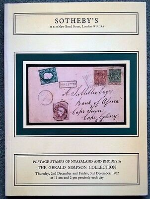 Auction Catalogue NYASALAND & RHODESIA the Gerald Simpson Collection with prices