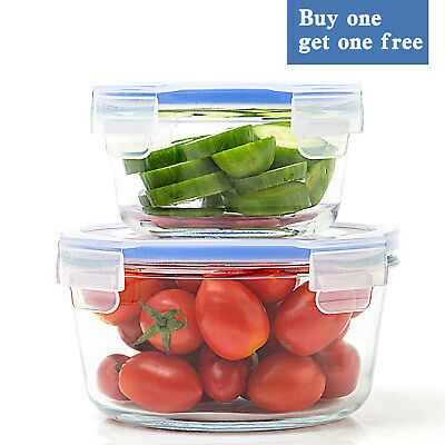 Glass Food Storage Containers with Lids (Buy 1 Get 1 Free) (Round 24oz+12oz)