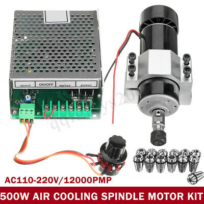 AU CNC 500W Air Cooling Spindle Motor + 52mm Clamps + 13 Speed Governor ER11 Kit