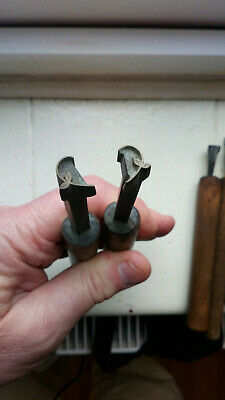 """ANTIQUE Bookbinding Gilding Leather Tools Stamps """" Handed Pair """"     (4)"""