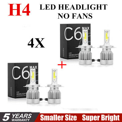 4pcs C6 COB H4 22500LM 150W LED Car Headlight Kit Hi/Lo Turbo Light Bulbs 6000K~