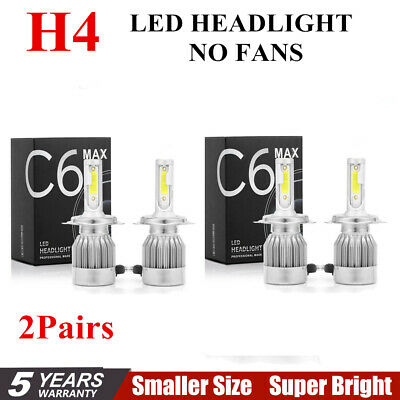 2Pair H4 C6 COB 22500LM 150W LED Car Headlight Kit Hi/Lo Turbo Light Bulbs 6000K