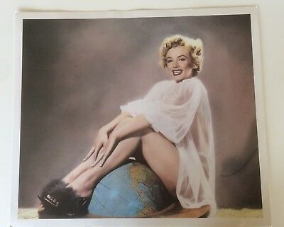 Marilyn Monroe Hand Tinted Art Print by Pomegranate 1990 Sitting on the globe