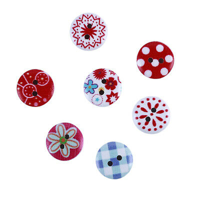 50Pcs/Set Round Flower Wooden Buttons For Kids Bag Clothing DIY Sewing Craft CB