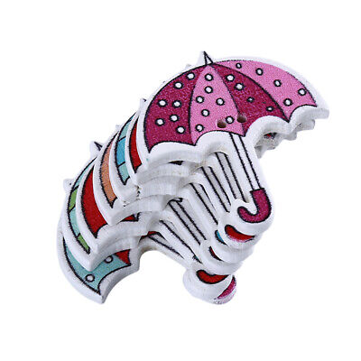 50Pcs/Set Cute Umbrella Wooden Buttons For Kids Bag Clothing DIY Sewing Craft CB