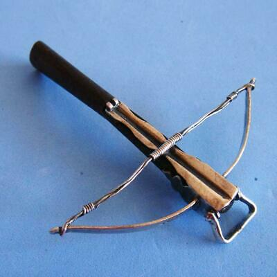 SUPERB Vintage Sterling SILVER & Wood Weapon Crossbow Bow MINIATURE!