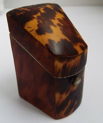 Lovely Rare English Antique Victorian Faux Tortoiseshell Sewing Needle Case Box