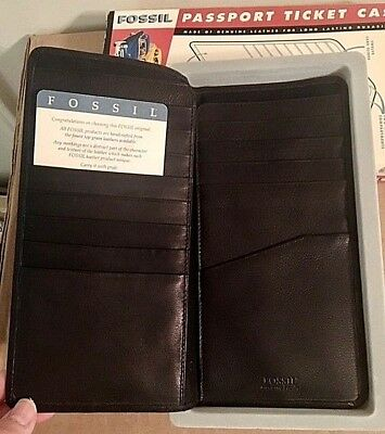 Vintage Genuine Leather Fossil The American Classic Passport Ticket Case-Nib
