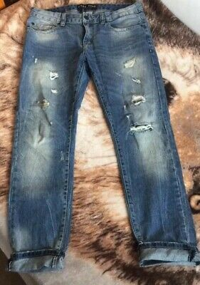 NEW PACSUN BLUE Ripped Knees Biker Stacked Skinny Jeans Sz 32x32 ... cc77645b5