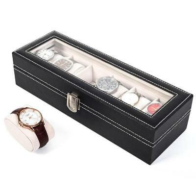 Wooden Watch Display Case Storage Box Winder Jewelry Collection Long Box CB