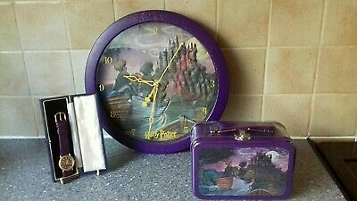 Harry Potter Lot - 2001/2002 3D Wall Clock - Rare Hologram Watch - Tin Container