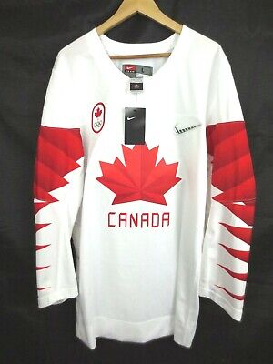 3b538e29447 NEW  160 Men s Team Canada 2018 Olympic White Hockey Jersey NWT Size LARGE