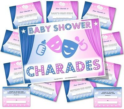 Baby Shower Party Games  ~  BABY SHOWER CHARADES  -  Unisex theme