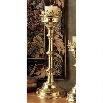 Chartres Cathedral Gothic Solid Brass Antique Replica Design Toscano Candlestick