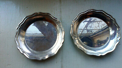 Pair  vintage solid Silver Bottle Coasters Dishes 130 grams   Vgc  Birm.1961