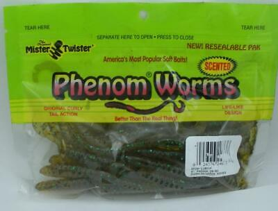 """Mister Twister 6P20-2010RS Phenom Worms 6/"""" Motor Oil Chartreuse Tail 20CT 24038"""