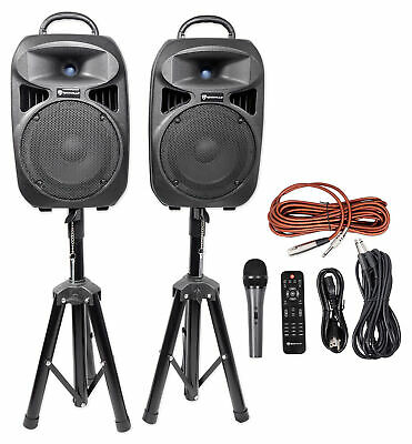 "Rockville Dual 8"" Bluetooth PA Church Speakers+Mic+Stands 4 Church Sound Systems"