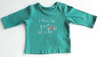 New & Tagged M&S Baby Long Sleeve Top With 'Best Mum' Slogan Fit Age 0-3 Months