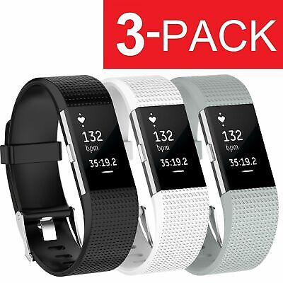 3 Pack Replacement Band for Fitbit Charge 2 Large Bracelet Watch Rate Fitness US