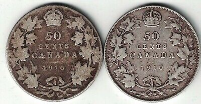 Canada 1910 50 Cents Victorian & Edwardian Leaves Edward Sterling Silver Coins
