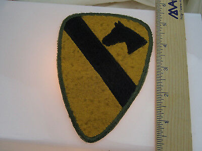 Vintage Yellow with  Black equestrian stripe Horse green border  Felt patch