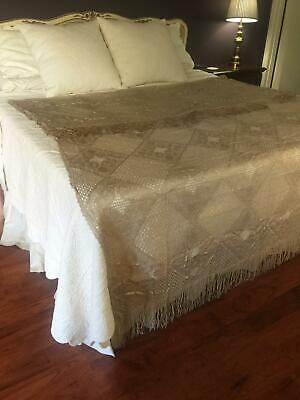 "Antique French Crochet Bedspread Coverlet with 7"" Fringe Border 72 x 102 BS2"