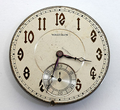 Waltham Two Pocket Watch Movements with Dials for Parts Only