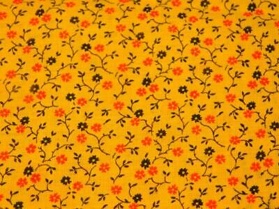 "1 1/2 Yards Vintage 36"" wide COTTON FABRIC Yellow Red Black Tiny Print Quilt"