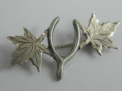 A Lovely Antique/Vintage Solid Sterling Silver Maple Leaf & Wishbone Brooch