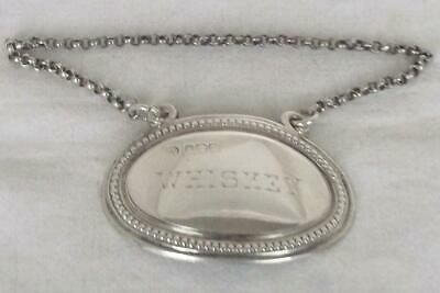 An Antique Solid Sterling Silver Edwardian Whiskey Decanter Label Sheffield 1909