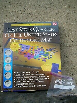 1999-2008 First State Quarters of the US Collector's Map Complete w/ COA 51 Coin