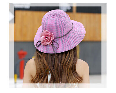 A291 Foldable Women Lady Great Border Sunscreen Straw Hat Summer Topee Sunhat M