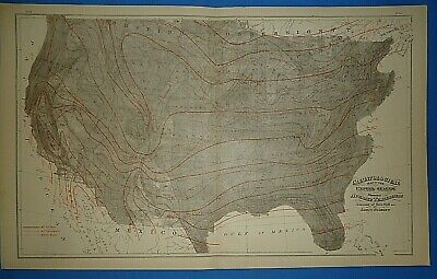 Vintage 1883 UNITED STATES CLIMATOLOGICAL Map Old Antique Original OW GRAY