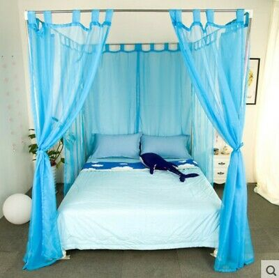 Queen Blue Yarn Mosquito Net Bedding Four-Post Bed Canopy Curtain Netting .