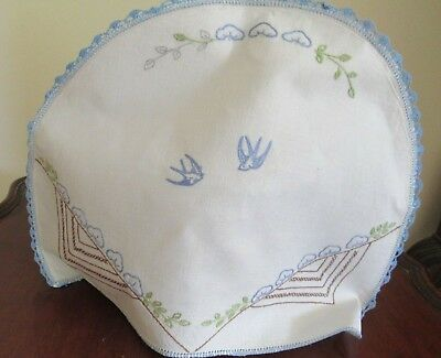 Vintage WHITE LINEN HAND-EMBROIDERED DECORATIVE TEA COSY with birds, needs leaf